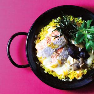 鮭ときのこ、 三ツ葉の白味噌クリームパエリア ¥1,150